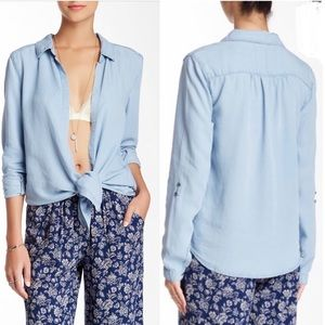 C&C California Chambray Button Front Tie Top XS